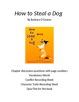 How to Steal a Dog Chapter Question, Vocabulary, Character
