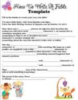 How to Write a Fable Writing Template