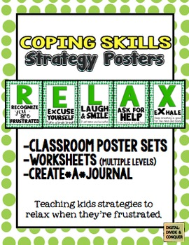 How to RELAX!  Poster Sets, Worksheets, Journals, & Coping