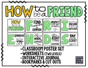 How to be a FRIEND!  Poster Set, Worksheets, & Interactive
