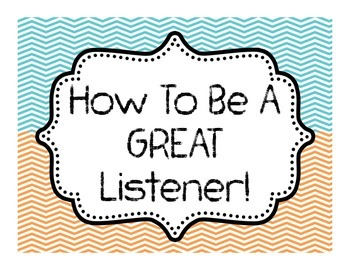 How to be a GREAT Listener! 7 Page CHEVRON themed Bulletin