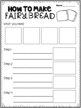 How to make fairy bread procedure writing worksheet