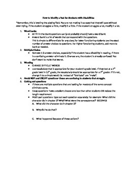 How to modify a test for students with disabilities on IEPs