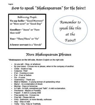 "How to speak ""Shakespearean"" handout"