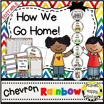 How we go home ~ Transportation Bundle (Editable) ~Rainbow Chevron