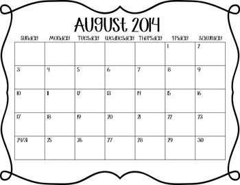 August 2014-May 2015 Calendars