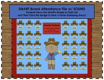 """""""Howdy Partner"""" Cowboy Western Themed SMART Board Attendan"""