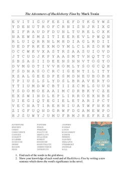 Huckleberry Finn - Vocabulary Word Search