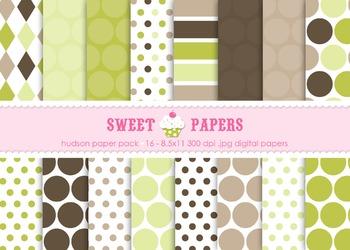 Hudson Brown Green Tan Polkadot Digital Paper Pack - by Sw