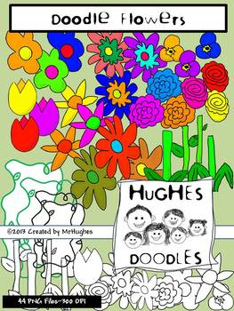 Flowers Clip Art- Hughes Doodles {Personal and Commercial Use}