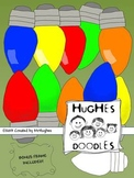 Holiday Lights Clip Art- Hughes Doodles  {Commercial and P