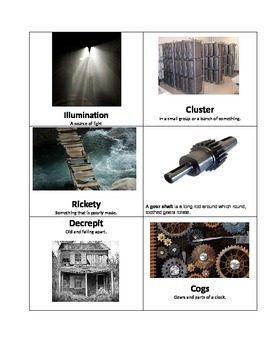 Hugo Cabret Vocabulary Cards: Chapter 1 and 2