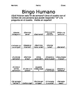 Human Bingo - Preterite - Pretérito