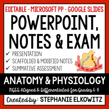 Human Body Anatomy and Function PP, Notes & Exam (Differen