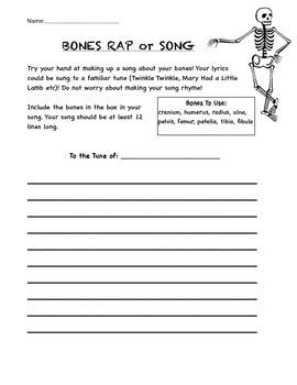Human Body Bones Worksheet - Students Create Song To Memor