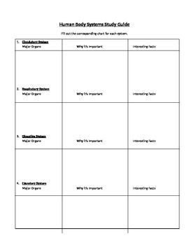 Human Body System Study Guide