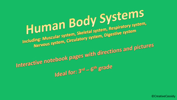 Human Body Systems - Interactive Notebook pages