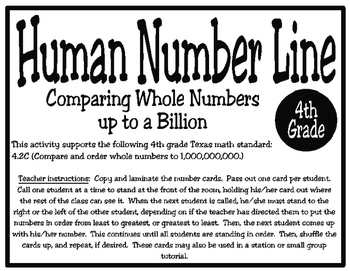 Human Number Line: Comparing and Ordering Numbers to 1,000