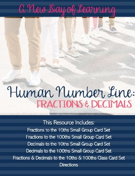 Human Number Line - Fractions and Decimals - Math Center o