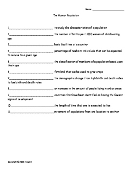 Human Population Vocabulary Quiz or Worksheet for Environm