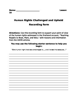 Human Rights Challenged and Upheld Recording Form Lesson 1