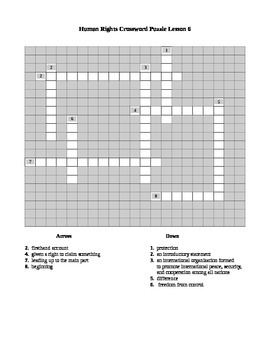 Human Rights Crossword Puzzle Lesson 6