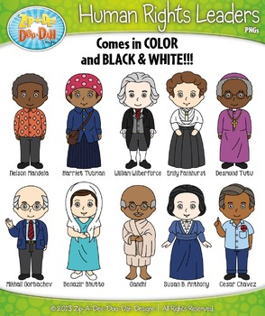 Human Rights Leaders Characters Clipart Set — Includes 20