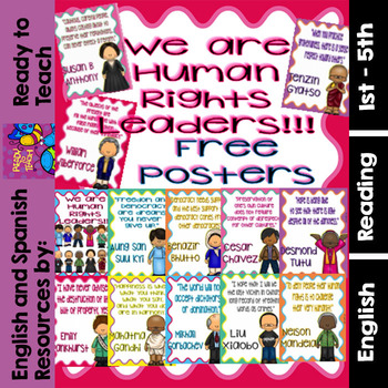 Human Rights Leaders -  Free Posters with Quotes