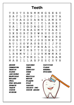 Human Teeth Word Search and Label