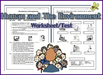 Human and The Environment Worksheet/Test