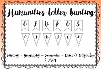 Humanities bulletin board letters / black and white letter