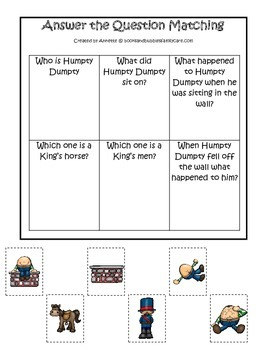 Humpty Dumpty themed Answer the Question printable game.