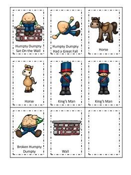 Humpty Dumpty themed Three Part Matching preschool printab