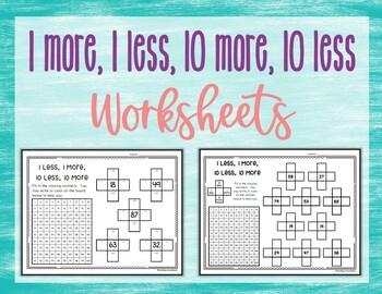 Hundred Board 1 More, 1 Less, 10 More, 10 Less Worksheets