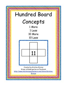 Hundred Board Concepts 1 More 1 Less 10 More 10 Less