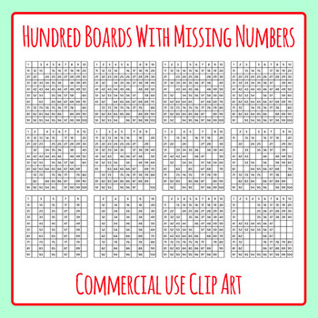 Hundred Boards with Missing Numbers Clip Art Set for Comme