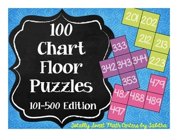 Hundred Chart Floor Puzzles: 101-500 Edition-- four 20-pie