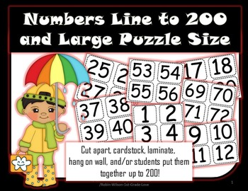 Number Line or Hundred Number Chart Large Puzzle Size to 200