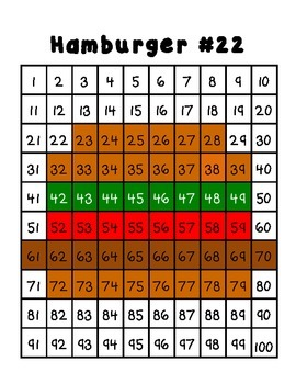 100 Chart Pictures/ Hundred Chart Designs Color By Number FREEBIE