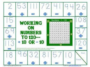 Hundreds Chart Work--Adding and Subtracting 10 and 1