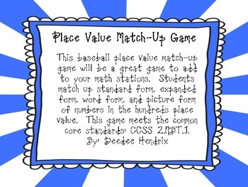 Hundreds Place Value Game