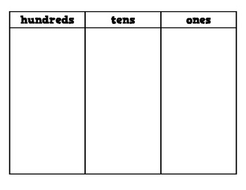Hundreds-Tens-Ones Place Value Chart