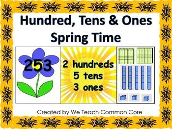 Hundreds, Tens, and Ones, Place Value Math Station Springt