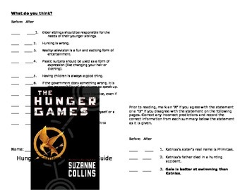 Hunger Games Anticipation Guide