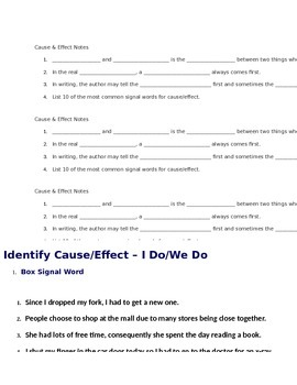 Hunger Games - Cause/Effect Notes for Powerpoint