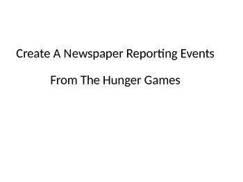 Hunger Games Newspaper Activity