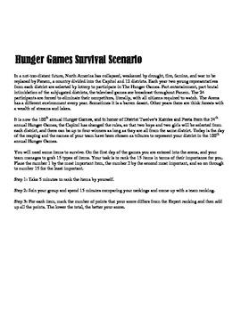 Hunger Games Survival Scenario