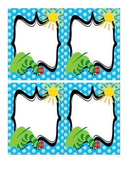 Hungry Caterpilar Blank Cards/Labels