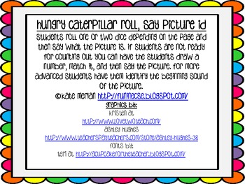Hungry Caterpillar Roll, Say Picture Id {Freebie}