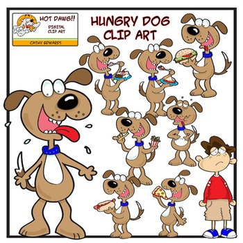 Hungry Dog Set - Digital clip art by Hot Dawg Illustration